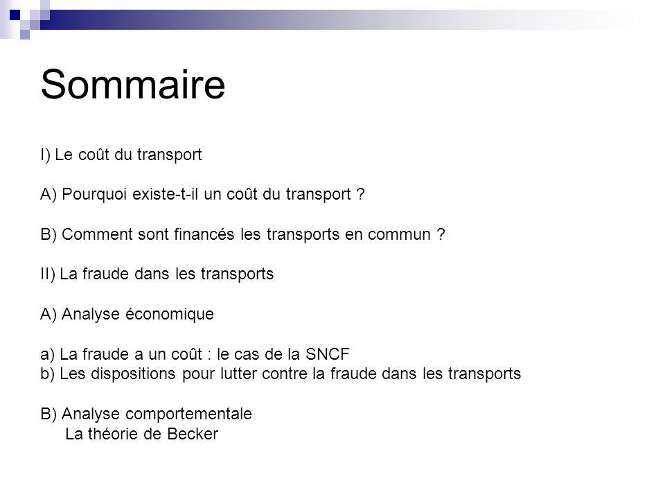 Sommaire I) Le coût du transport A) Pourquoi existe-t-il un coût du transport ? B) Comment sont financés les transports en commun ? II) La fraude dans