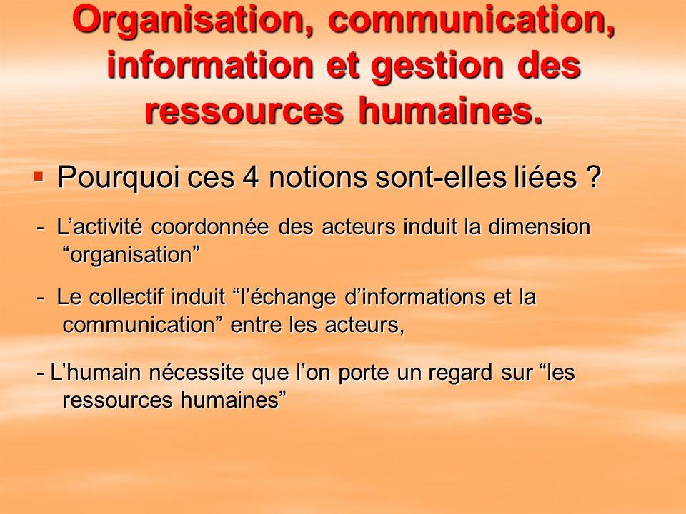 Organisation, communication, information et gestion des ressources humaines. Pourquoi ces 4 notions sont-elles liées ? - Lactivité coordonnée des acte