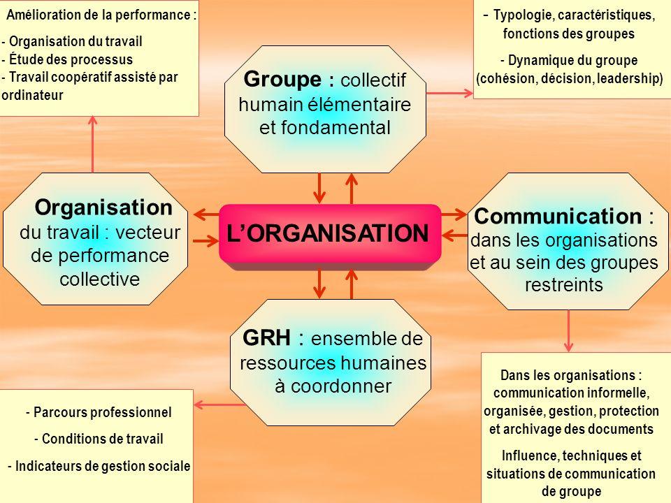 LORGANISATION Groupe : collectif humain élémentaire et fondamental GRH : ensemble de ressources humaines à coordonner Communication : dans les organis