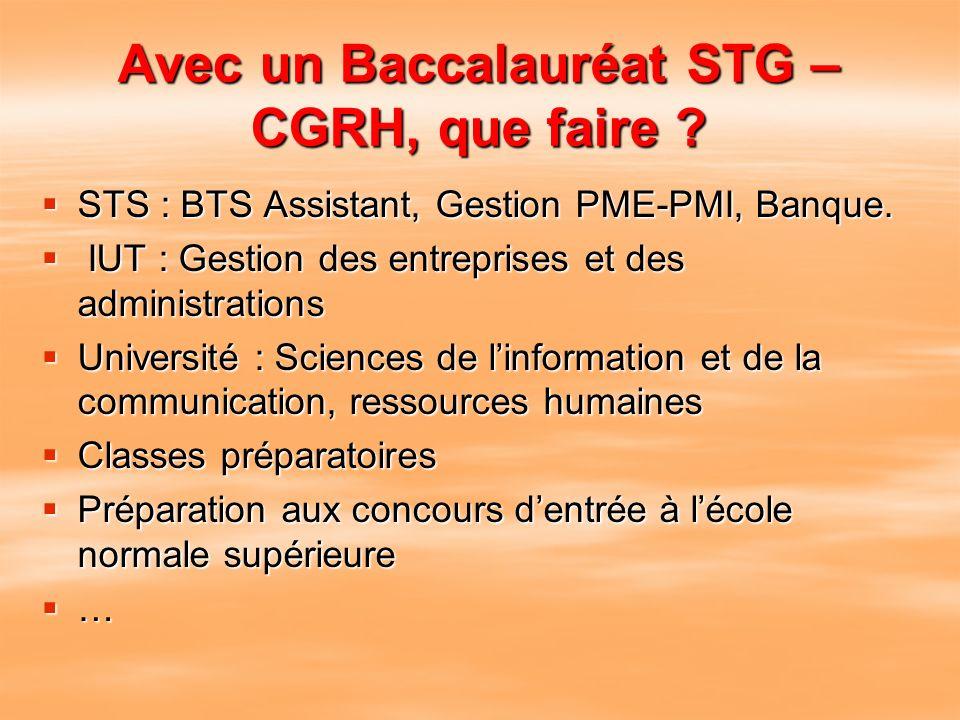 Avec un Baccalauréat STG – CGRH, que faire ? STS : BTS Assistant, Gestion PME-PMI, Banque. I IUT : Gestion des entreprises et des administrations Univ