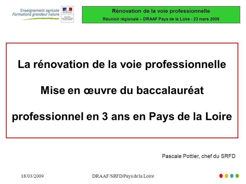 Rénovation de la voie professionnelle Réunion régionale – DRAAF Pays de la Loire - 23 mars 2009 18/03/2009DRAAF/SRFD Pays de la Loire La rénovation de la voie professionnelle Mise en œuvre du baccalauréat professionnel en 3 ans en Pays de la Loire Pascale Pottier, chef du SRFD