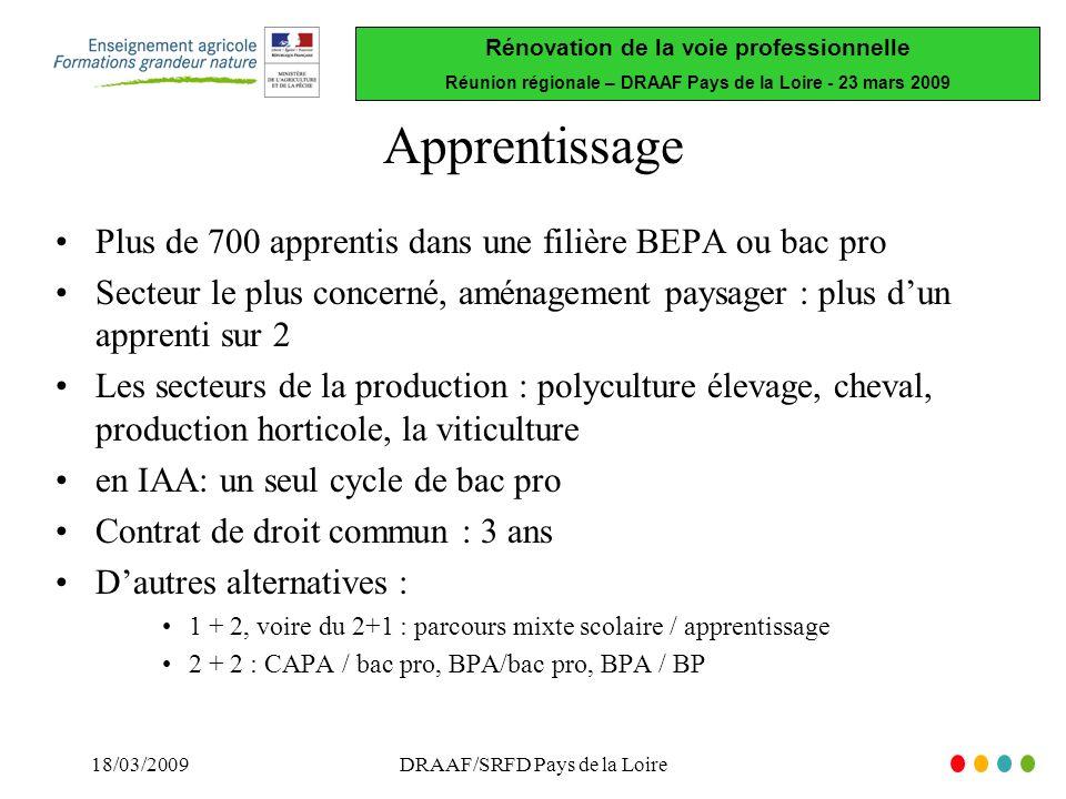 Rénovation de la voie professionnelle Réunion régionale – DRAAF Pays de la Loire - 23 mars 2009 18/03/2009DRAAF/SRFD Pays de la Loire Apprentissage Plus de 700 apprentis dans une filière BEPA ou bac pro Secteur le plus concerné, aménagement paysager : plus dun apprenti sur 2 Les secteurs de la production : polyculture élevage, cheval, production horticole, la viticulture en IAA: un seul cycle de bac pro Contrat de droit commun : 3 ans Dautres alternatives : 1 + 2, voire du 2+1 : parcours mixte scolaire / apprentissage 2 + 2 : CAPA / bac pro, BPA/bac pro, BPA / BP