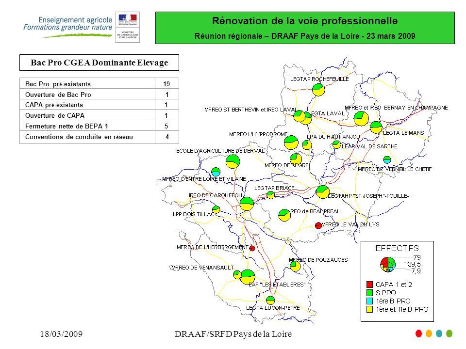 Rénovation de la voie professionnelle Réunion régionale – DRAAF Pays de la Loire - 23 mars 2009 18/03/2009DRAAF/SRFD Pays de la Loire Bac Pro pr é -existants19 Ouverture de Bac Pro 1 CAPA pr é -existants1 Ouverture de CAPA1 Fermeture nette de BEPA 15 Conventions de conduite en r é seau 4 Bac Pro CGEA Dominante Elevage