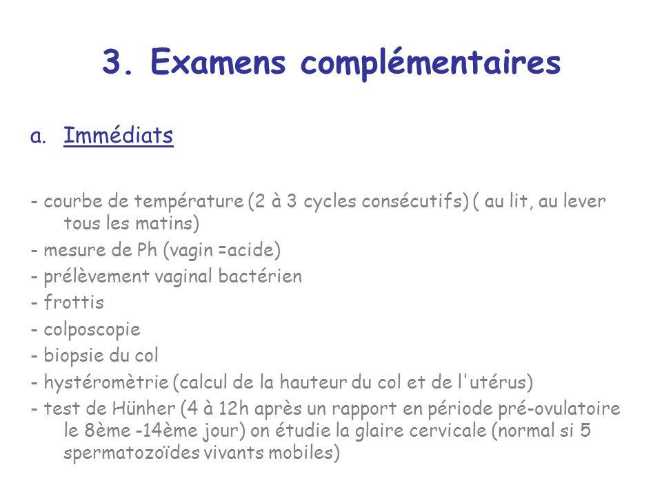 3. Examens complémentaires a.Immédiats - courbe de température (2 à 3 cycles consécutifs) ( au lit, au lever tous les matins) - mesure de Ph (vagin =a