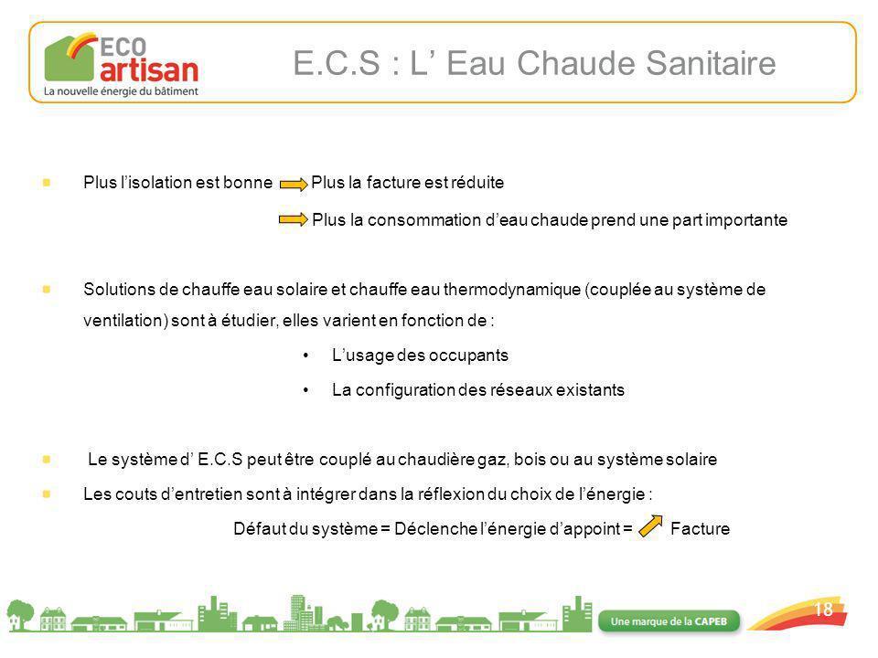 01/02/2008 18 E.C.S : L Eau Chaude Sanitaire Plus lisolation est bonne Plus la facture est réduite Plus la consommation deau chaude prend une part imp