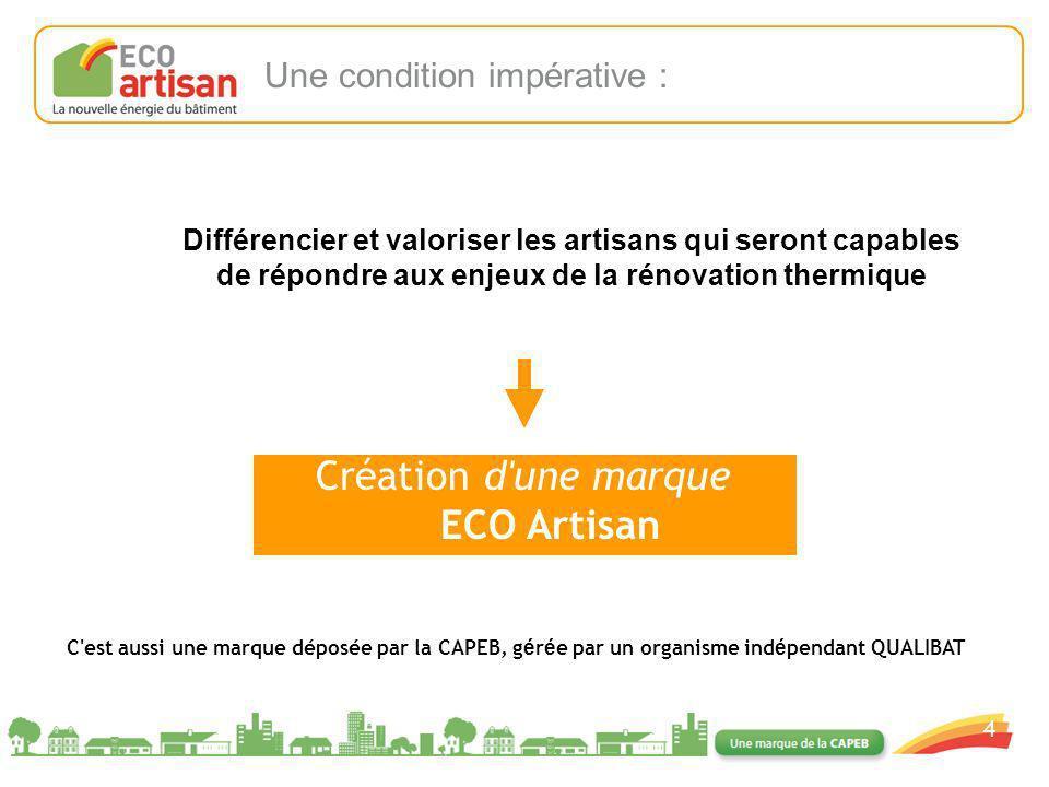 01/02/2008 4 Création d'une marque ECO Artisan C'est aussi une marque déposée par la CAPEB, g é r é e par un organisme ind é pendant QUALIBAT Une cond