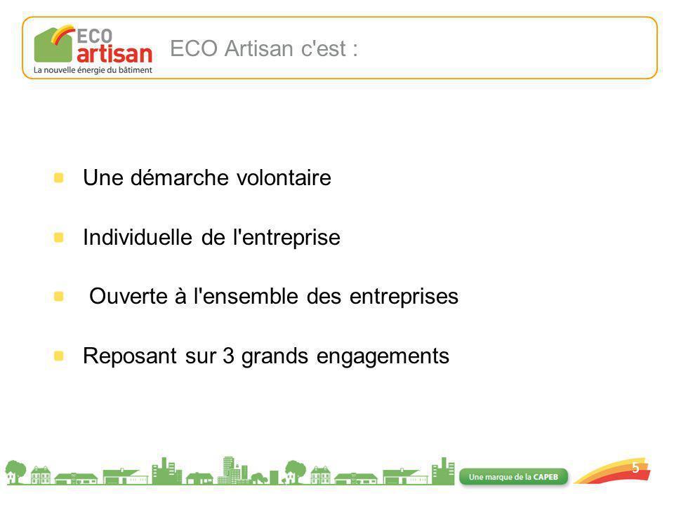 01/02/2008 5 ECO Artisan c'est : Une démarche volontaire Individuelle de l'entreprise Ouverte à l'ensemble des entreprises Reposant sur 3 grands engag