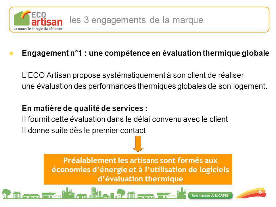 01/02/2008 6 Engagement n°1 : une compétence en évaluation thermique globale LECO Artisan propose systématiquement à son client de réaliser une évalua