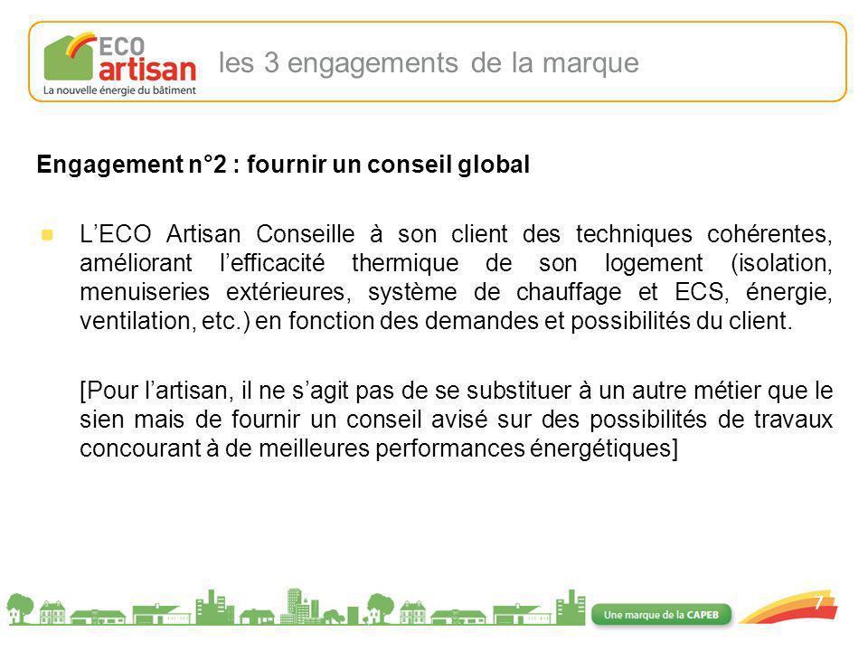 01/02/2008 7 Engagement n°2 : fournir un conseil global LECO Artisan Conseille à son client des techniques cohérentes, améliorant lefficacité thermiqu
