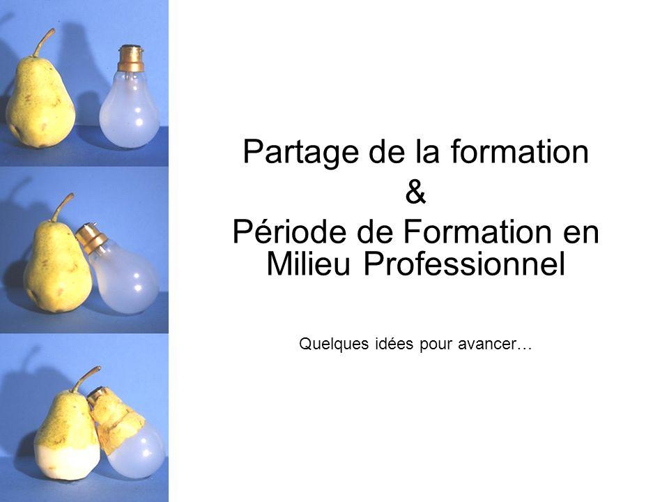 Partage de la formation & Période de Formation en Milieu Professionnel Quelques idées pour avancer…