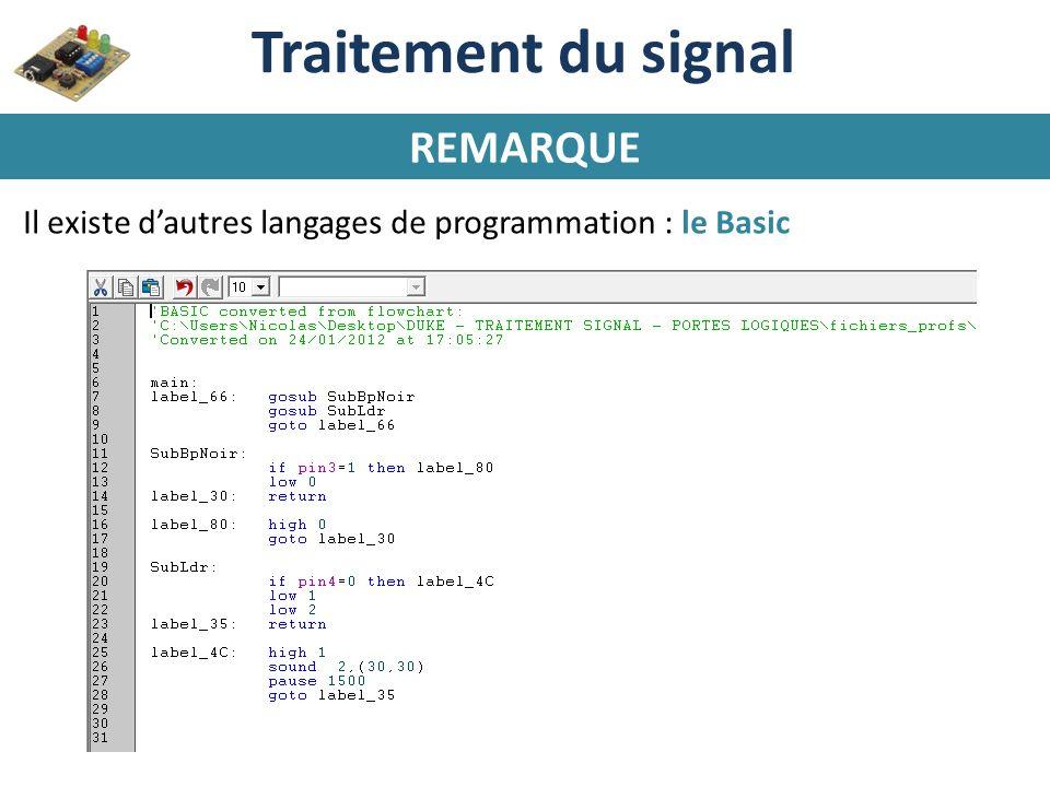 Traitement du signal REMARQUE Il existe dautres langages de programmation : le Basic