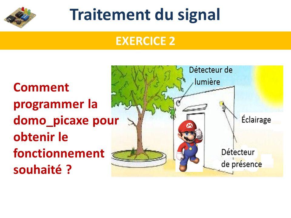 Traitement du signal EXERCICE 2 Comment programmer la domo_picaxe pour obtenir le fonctionnement souhaité ?