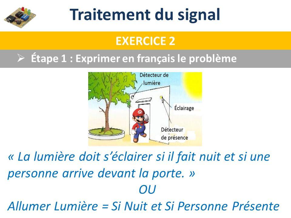 Étape 1 : Exprimer en français le problème Traitement du signal EXERCICE 2 « La lumière doit séclairer si il fait nuit et si une personne arrive devan