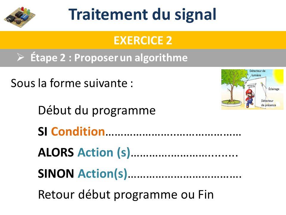 Début du programme SI Condition…………………..………………… ALORS Action (s)………….…………......... SINON Action(s)………………………………. Retour début programme ou Fin Étape 2