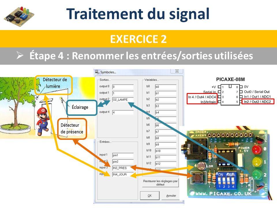 Étape 4 : Renommer les entrées/sorties utilisées Traitement du signal EXERCICE 2