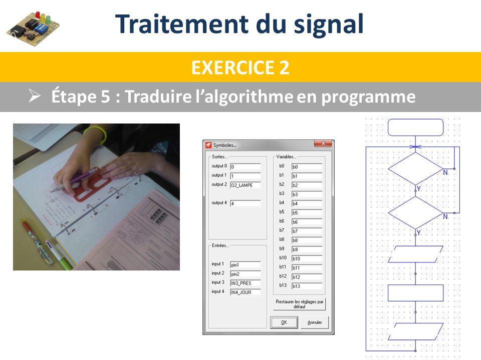 Traitement du signal EXERCICE 2 Étape 5 : Traduire lalgorithme en programme
