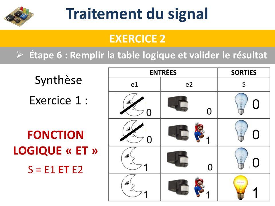 Traitement du signal EXERCICE 2 Étape 6 : Remplir la table logique et valider le résultat Synthèse Exercice 1 : FONCTION LOGIQUE « ET » S = E1 ET E2 0