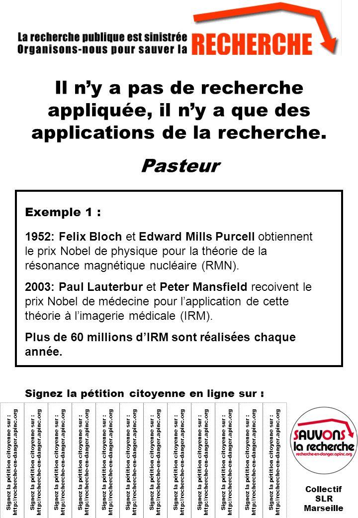 Signez la pétition citoyenne sur : http://recherche-en-danger.apinc.org Il ny a pas de recherche appliquée, il ny a que des applications de la recherche fondamentale.