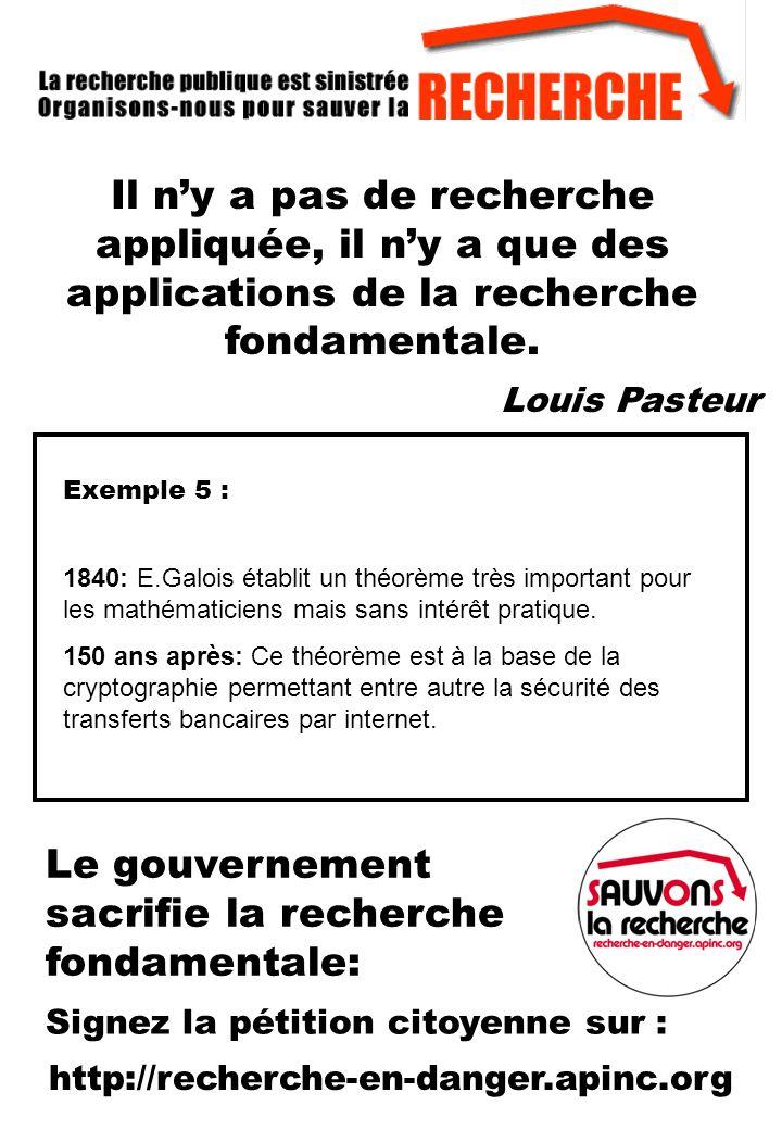 Exemple 5 : 1840: E.Galois établit un théorème très important pour les mathématiciens mais sans intérêt pratique.