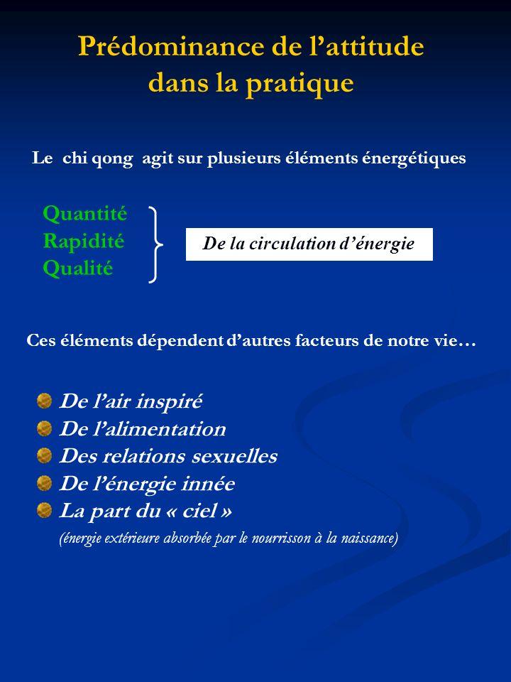 De la circulation dénergie Le chi qong agit sur plusieurs éléments énergétiques Prédominance de lattitude dans la pratique Quantité Rapidité Qualité C
