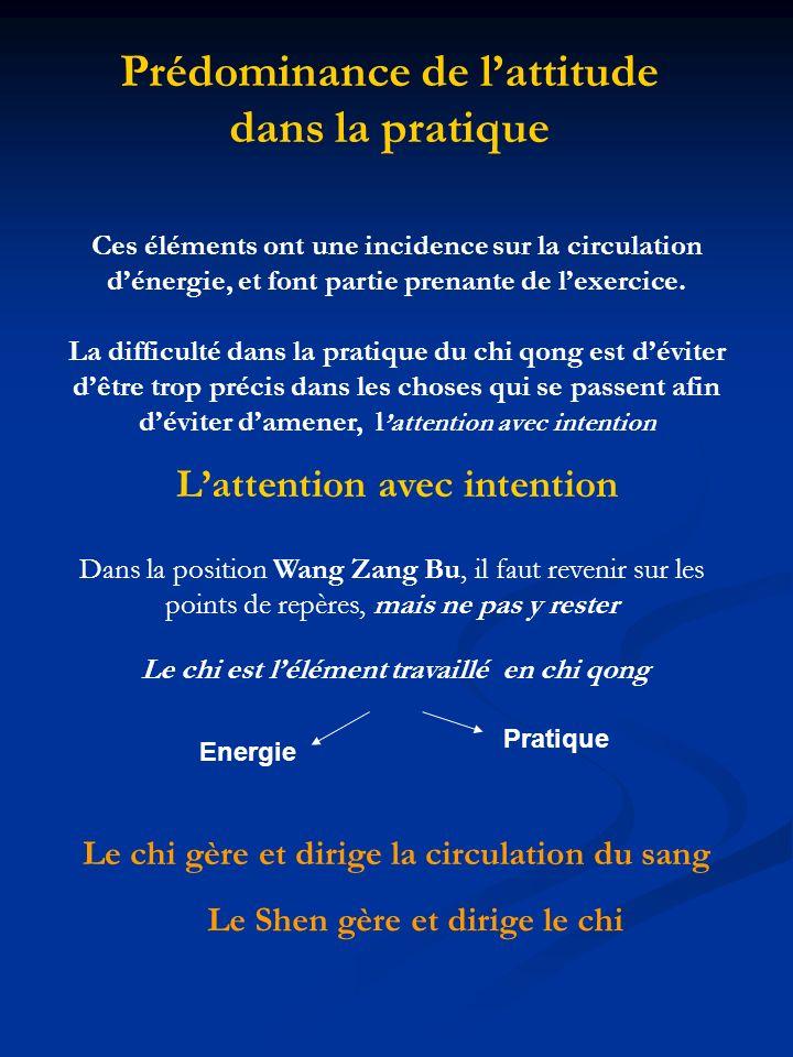 Rentrer dans la pratique Différentes étapes… 3eme étape Circulation de lénergie induite par les exercices eux- mêmes et la maintenir… Comment arriver à rester dans lexercice pour faire de ne pas arrêter la circulation de cette énergie ?..
