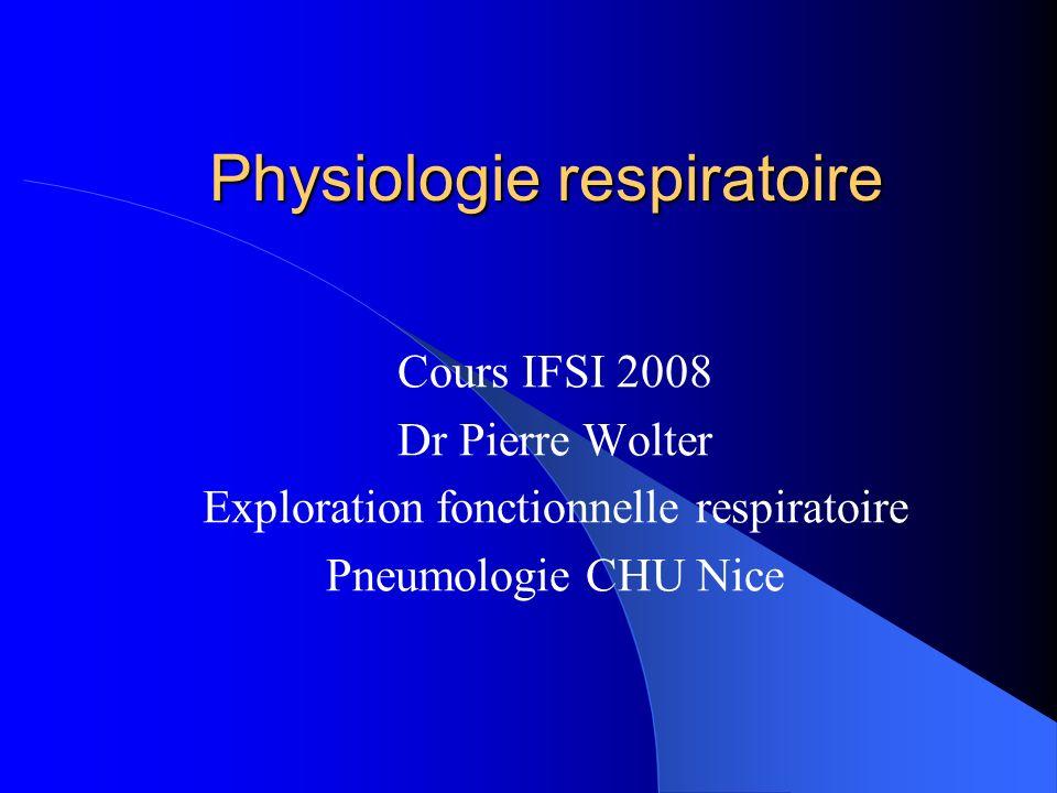 Physiologie respiratoire Cours IFSI 2008 Dr Pierre Wolter Exploration fonctionnelle respiratoire Pneumologie CHU Nice