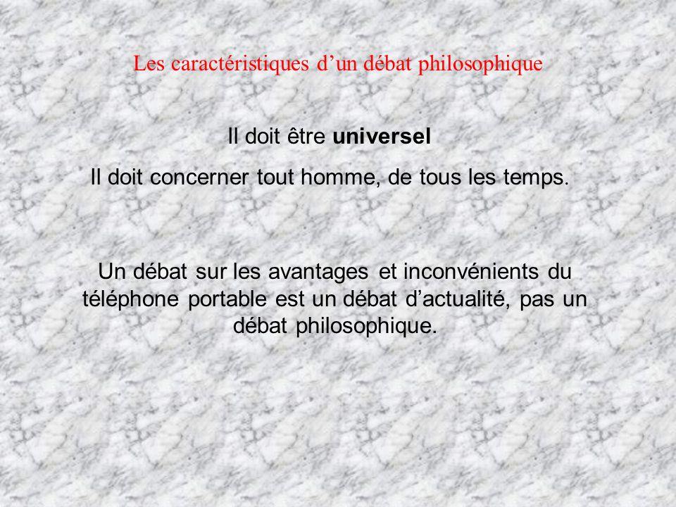Les caractéristiques dun débat philosophique Il doit être universel Il doit concerner tout homme, de tous les temps. Un débat sur les avantages et inc