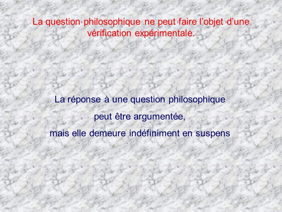 La question philosophique ne peut faire lobjet dune vérification expérimentale. La réponse à une question philosophique peut être argumentée, mais ell