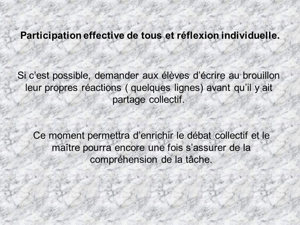 Participation effective de tous et réflexion individuelle. Si cest possible, demander aux élèves décrire au brouillon leur propres réactions ( quelque