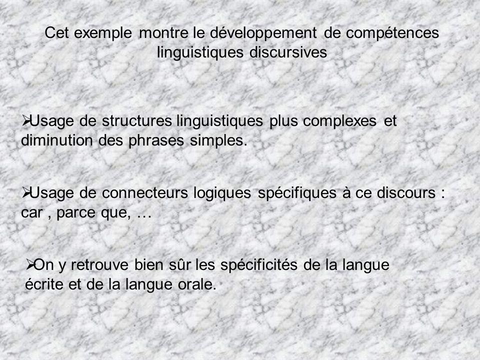 Cet exemple montre le développement de compétences linguistiques discursives Usage de structures linguistiques plus complexes et diminution des phrase