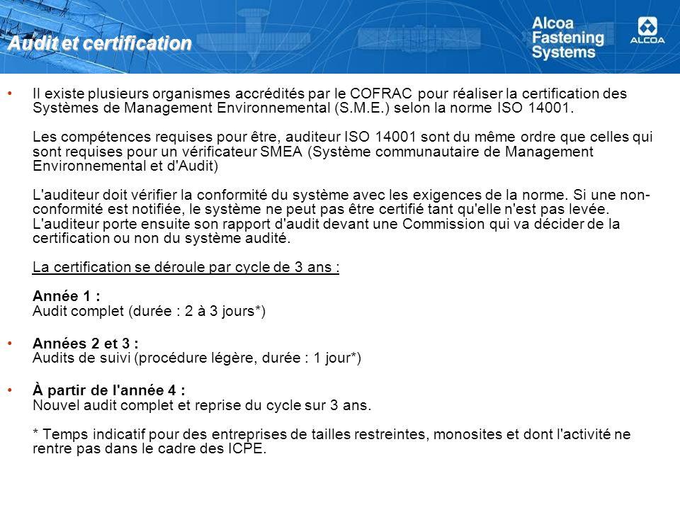 Audit et certification Il existe plusieurs organismes accrédités par le COFRAC pour réaliser la certification des Systèmes de Management Environnemental (S.M.E.) selon la norme ISO 14001.