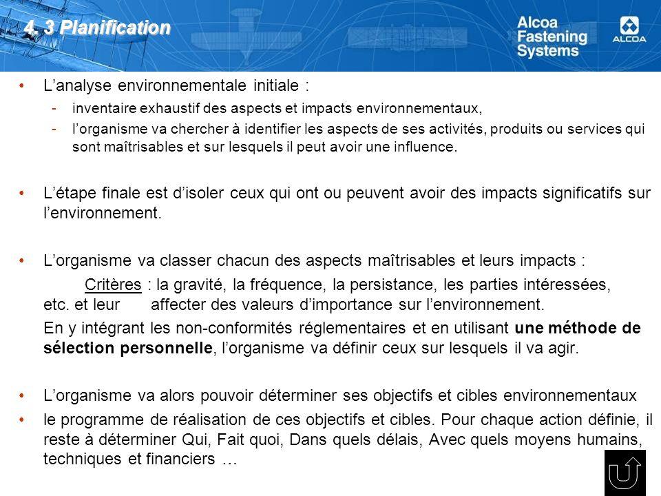 4. 3 Planification Lanalyse environnementale initiale : -inventaire exhaustif des aspects et impacts environnementaux, -lorganisme va chercher à ident