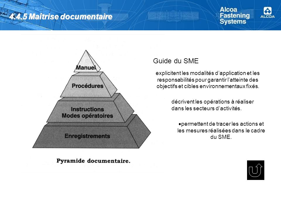 4.4.5 Maîtrise documentaire Guide du SME permettent de tracer les actions et les mesures réalisées dans le cadre du SME.