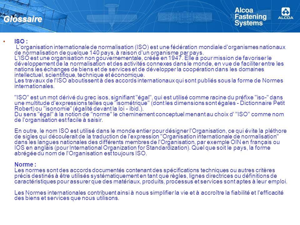 Glossaire ISO : L'organisation internationale de normalisation (ISO) est une fédération mondiale d'organismes nationaux de normalisation de quelque 14