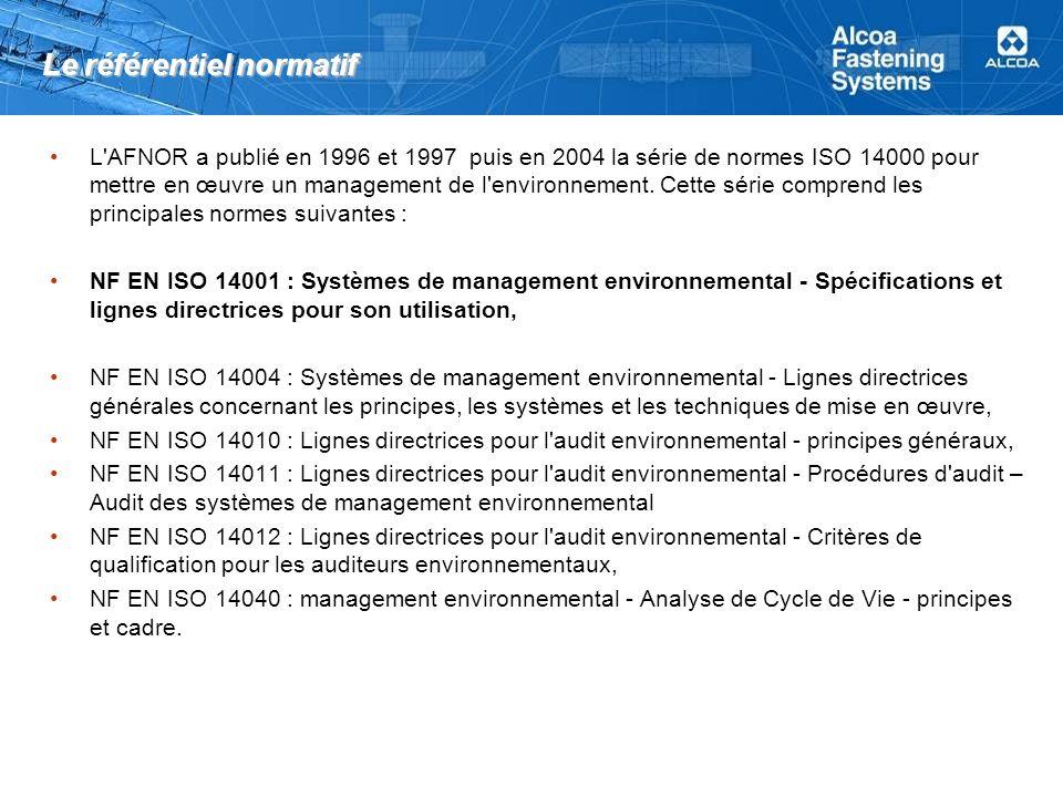 Le référentiel normatif L'AFNOR a publié en 1996 et 1997 puis en 2004 la série de normes ISO 14000 pour mettre en œuvre un management de l'environneme