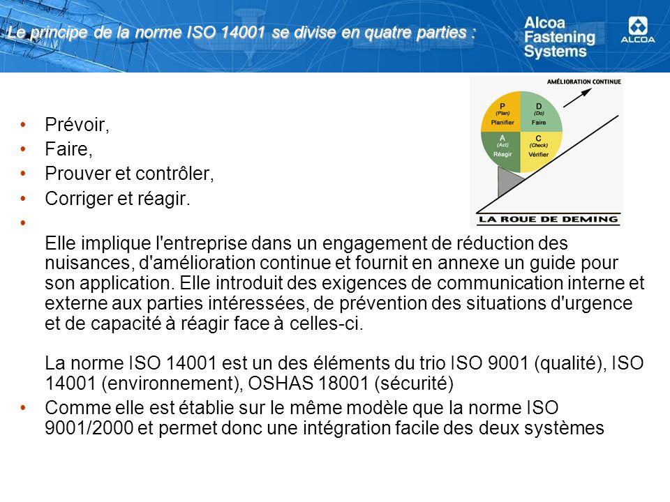 Le principe de la norme ISO 14001 se divise en quatre parties : Prévoir, Faire, Prouver et contrôler, Corriger et réagir. Elle implique l'entreprise d