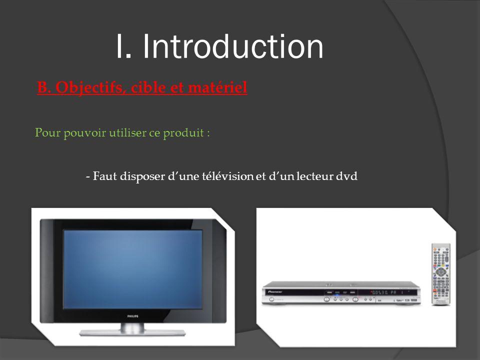 I. Introduction B. Objectifs, cible et matériel Pour pouvoir utiliser ce produit : - Faut disposer dune télévision et dun lecteur dvd