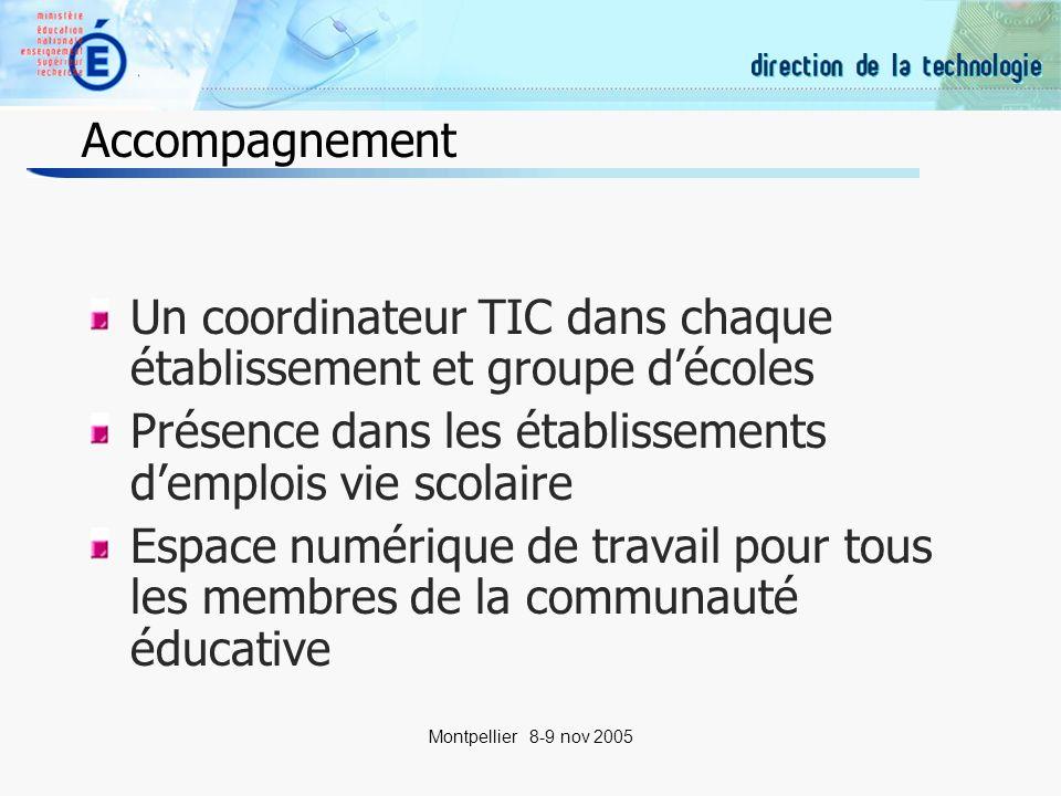 4 Montpellier 8-9 nov 2005 Accompagnement Un coordinateur TIC dans chaque établissement et groupe décoles Présence dans les établissements demplois vie scolaire Espace numérique de travail pour tous les membres de la communauté éducative
