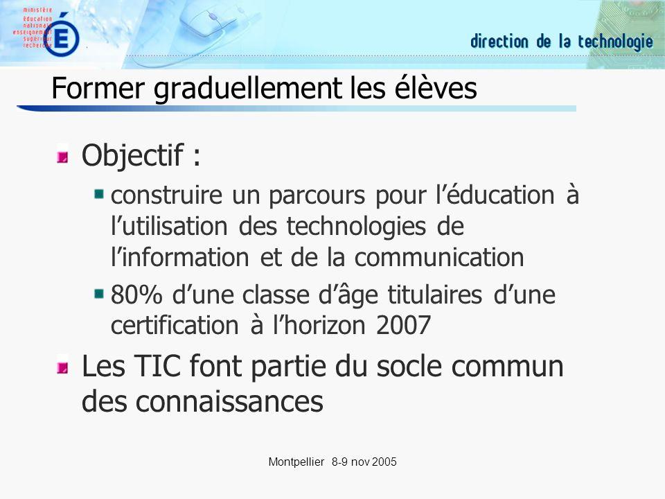 7 Montpellier 8-9 nov 2005 Former les enseignants (1) Au delà de la connaissance générale des technologies, lenseignant devra également être en mesure de maîtriser lutilisation des outils informatiques dans sa pratique professionnelle – Formation initiale
