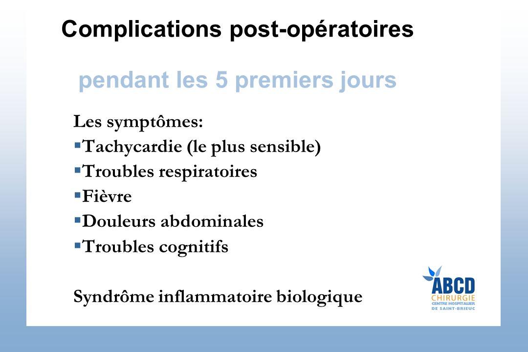Complications post-opératoires pendant les 5 premiers jours Les symptômes: Tachycardie (le plus sensible) Troubles respiratoires Fièvre Douleurs abdom