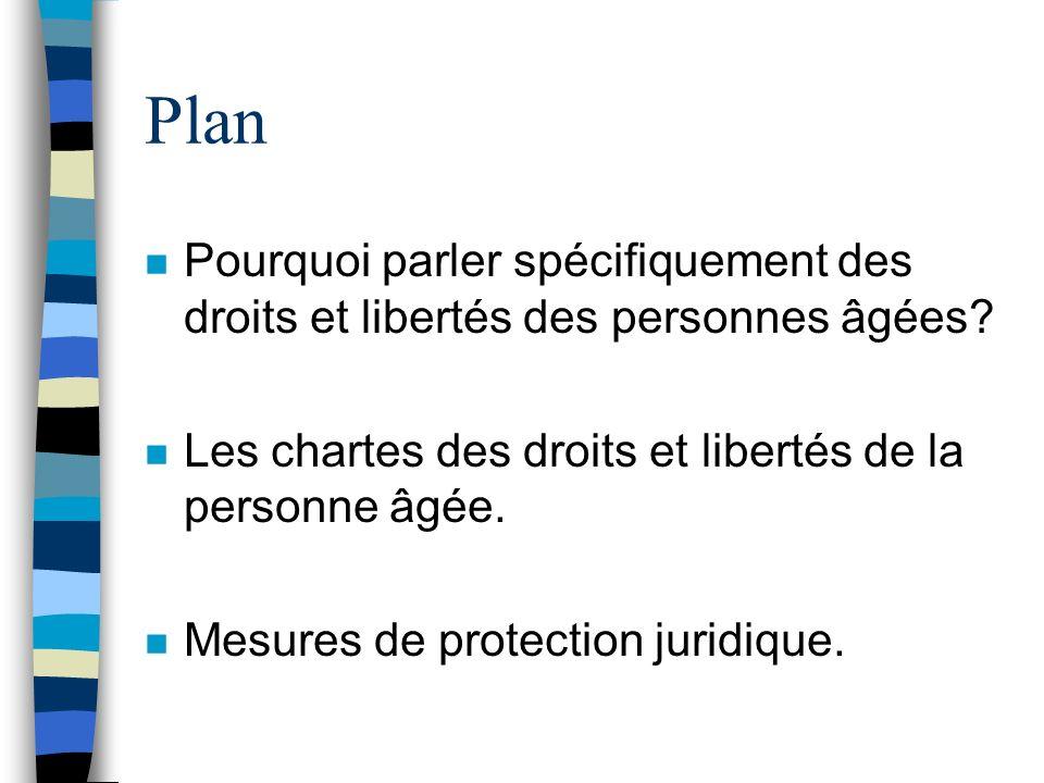 Plan n Pourquoi parler spécifiquement des droits et libertés des personnes âgées? n Les chartes des droits et libertés de la personne âgée. n Mesures