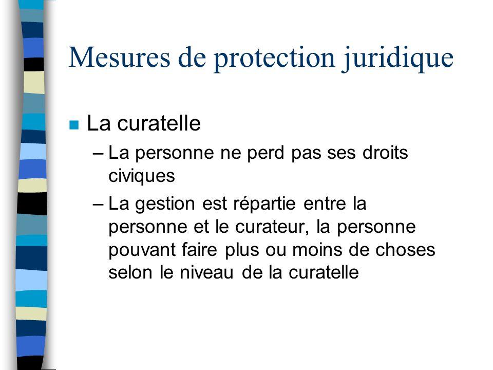 Mesures de protection juridique n La curatelle –La personne ne perd pas ses droits civiques –La gestion est répartie entre la personne et le curateur,