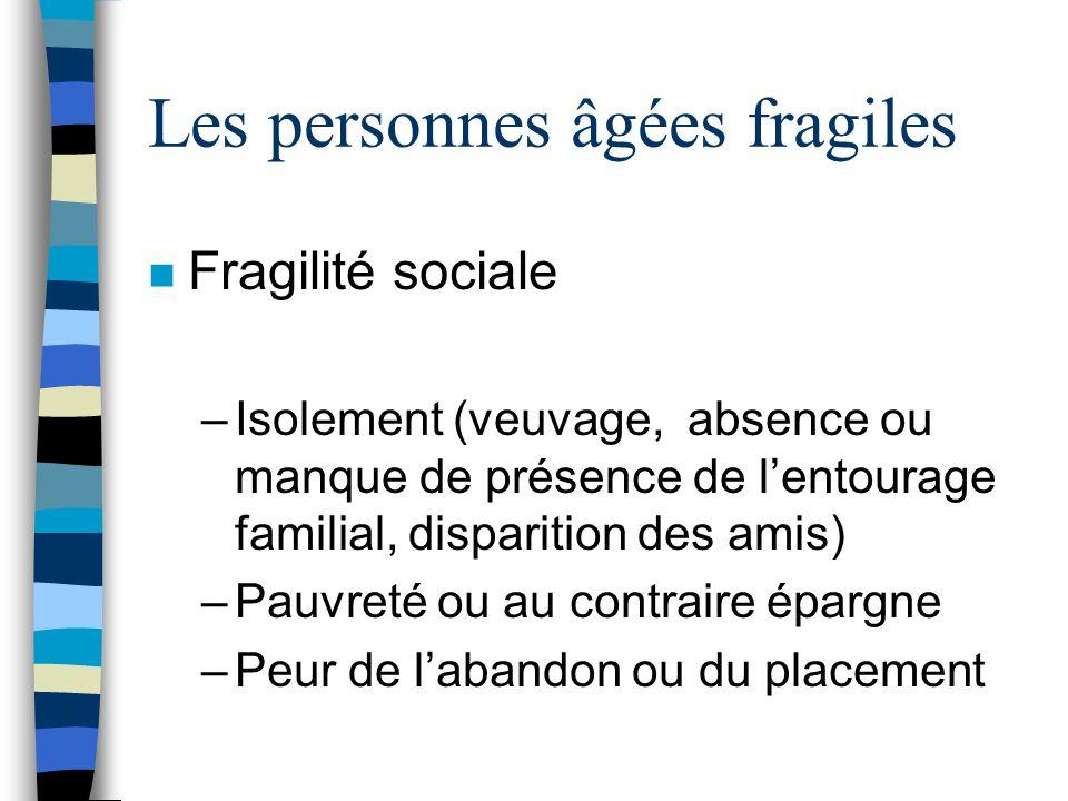 Les personnes âgées fragiles n Fragilité sociale –Isolement (veuvage, absence ou manque de présence de lentourage familial, disparition des amis) –Pau