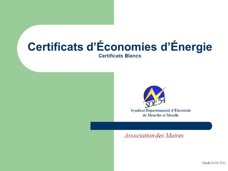 Certificats dÉconomies dÉnergie Certificats Blancs Syndicat Départemental dÉlectricité de Meurthe et Moselle Association des Maires Mardi 26/06/2012