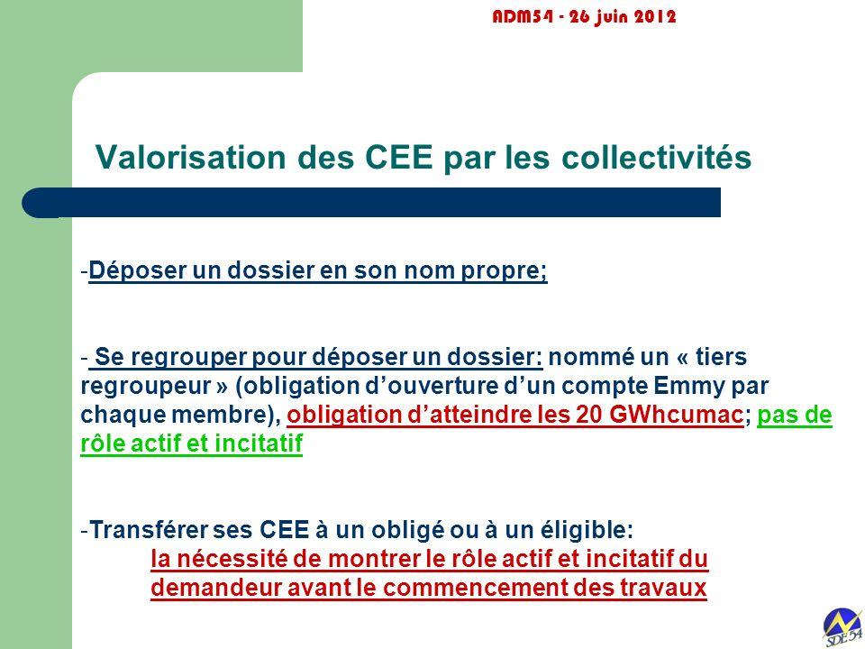 Valorisation des CEE par les collectivités ADM54 - 26 juin 2012 -Déposer un dossier en son nom propre; - Se regrouper pour déposer un dossier: nommé u