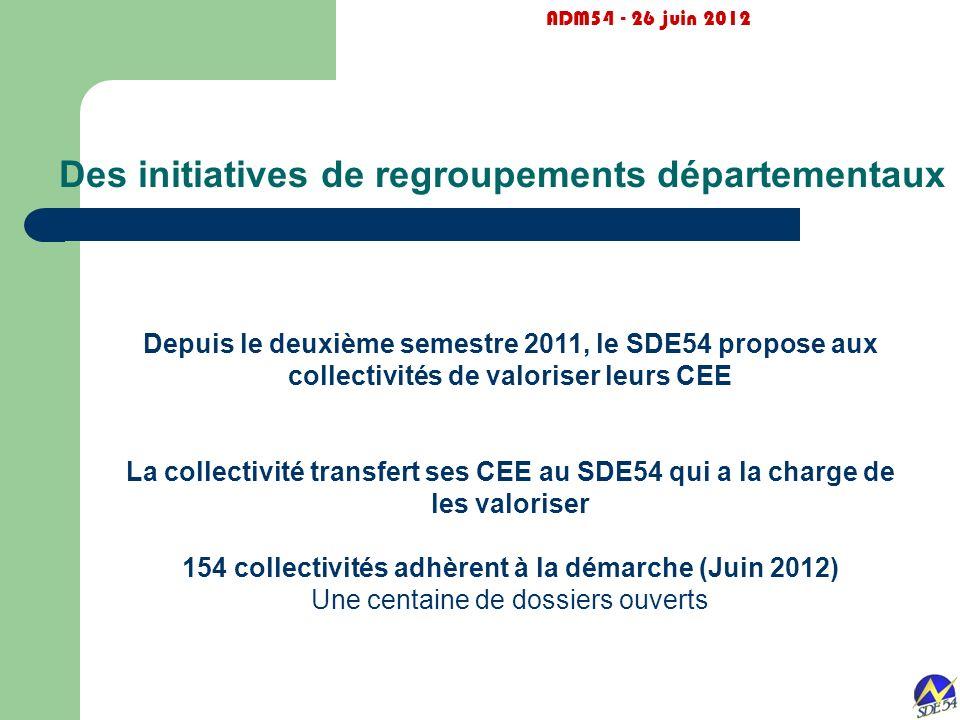 Des initiatives de regroupements départementaux ADM54 - 26 juin 2012 Depuis le deuxième semestre 2011, le SDE54 propose aux collectivités de valoriser