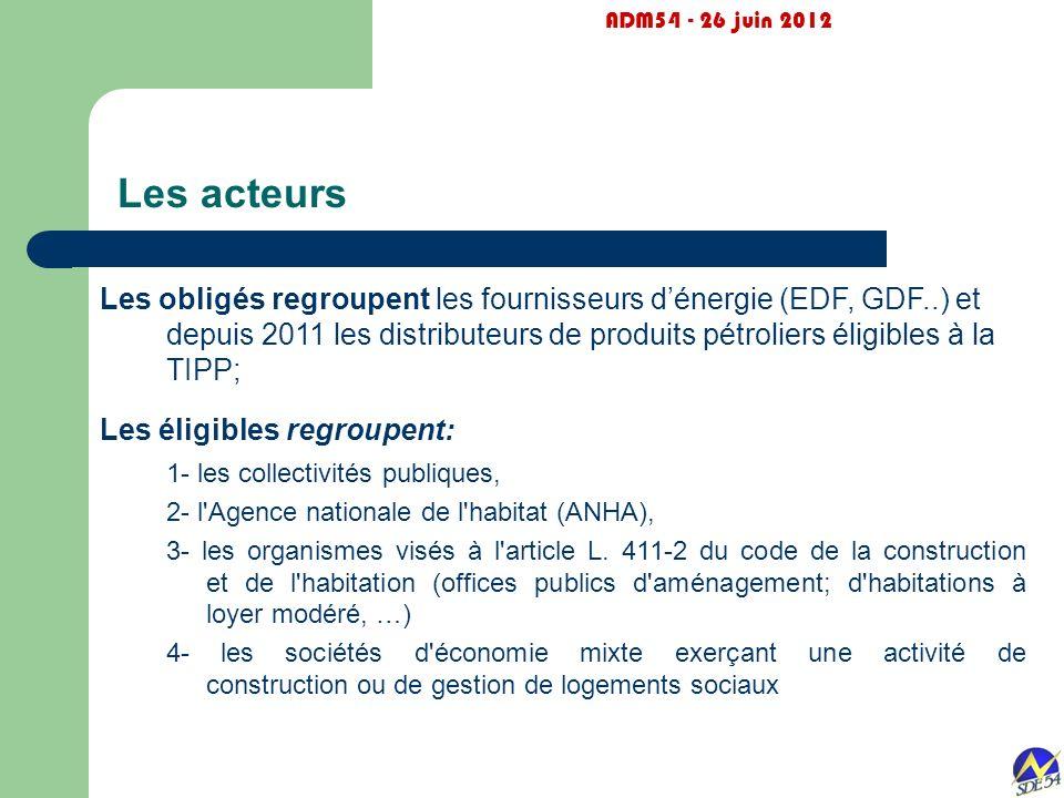 Les acteurs ADM54 - 26 juin 2012 Les obligés regroupent les fournisseurs dénergie (EDF, GDF..) et depuis 2011 les distributeurs de produits pétroliers