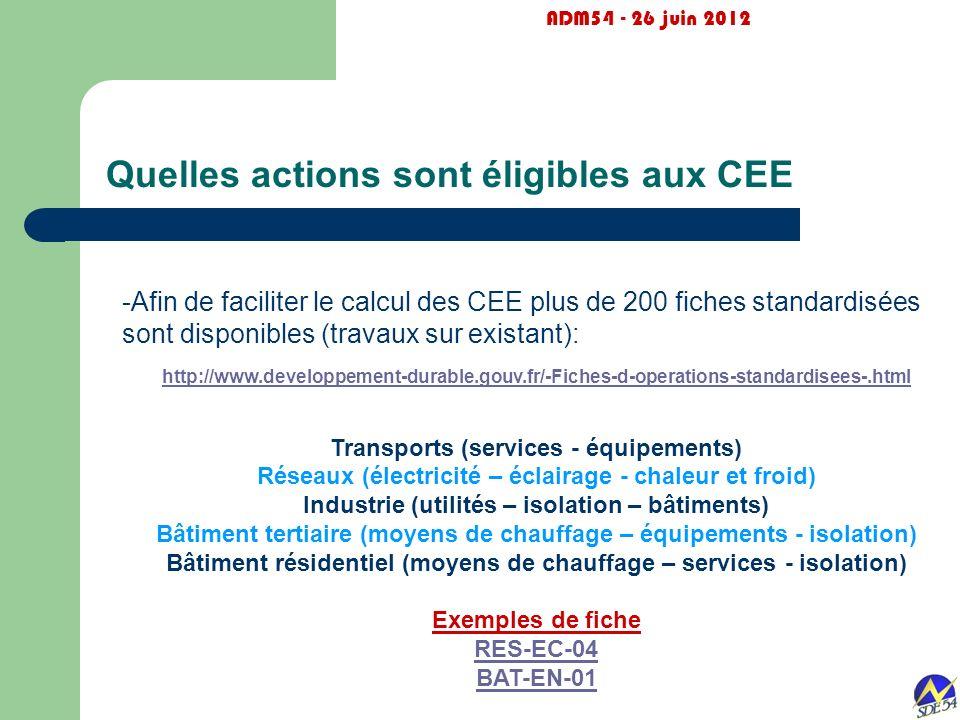 Quelles actions sont éligibles aux CEE ADM54 - 26 juin 2012 -Afin de faciliter le calcul des CEE plus de 200 fiches standardisées sont disponibles (tr