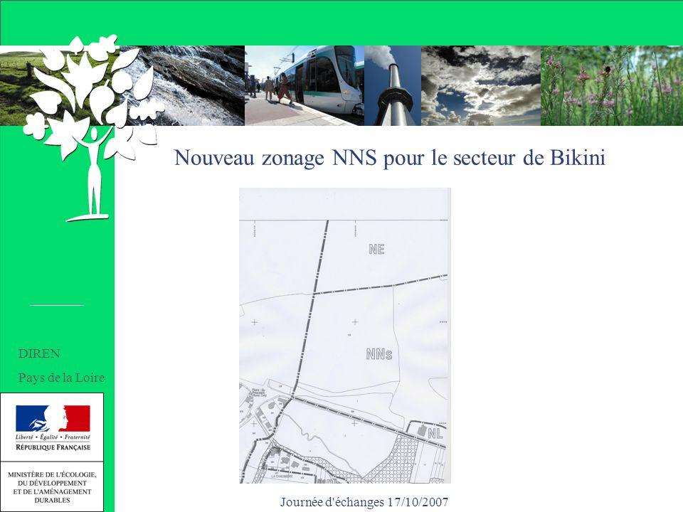 Journée d échanges 17/10/2007 Nouveau zonage NNS pour le secteur de Bikini DIREN Pays de la Loire