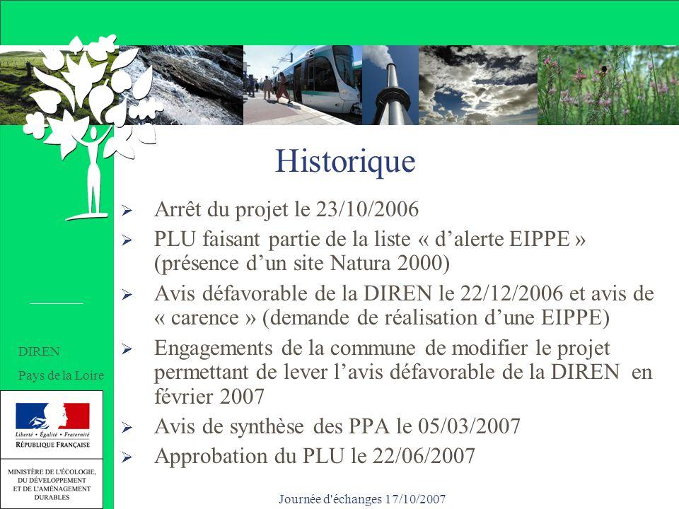 Journée d échanges 17/10/2007 Historique Arrêt du projet le 23/10/2006 PLU faisant partie de la liste « dalerte EIPPE » (présence dun site Natura 2000) Avis défavorable de la DIREN le 22/12/2006 et avis de « carence » (demande de réalisation dune EIPPE) Engagements de la commune de modifier le projet permettant de lever lavis défavorable de la DIREN en février 2007 Avis de synthèse des PPA le 05/03/2007 Approbation du PLU le 22/06/2007 Historique DIREN Pays de la Loire